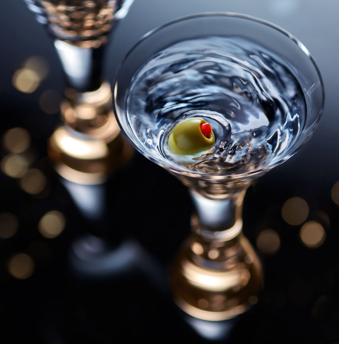 Martini with Olive in Gold Stem Glass- New York Food & Beverage Photographer-© Aristo Studios