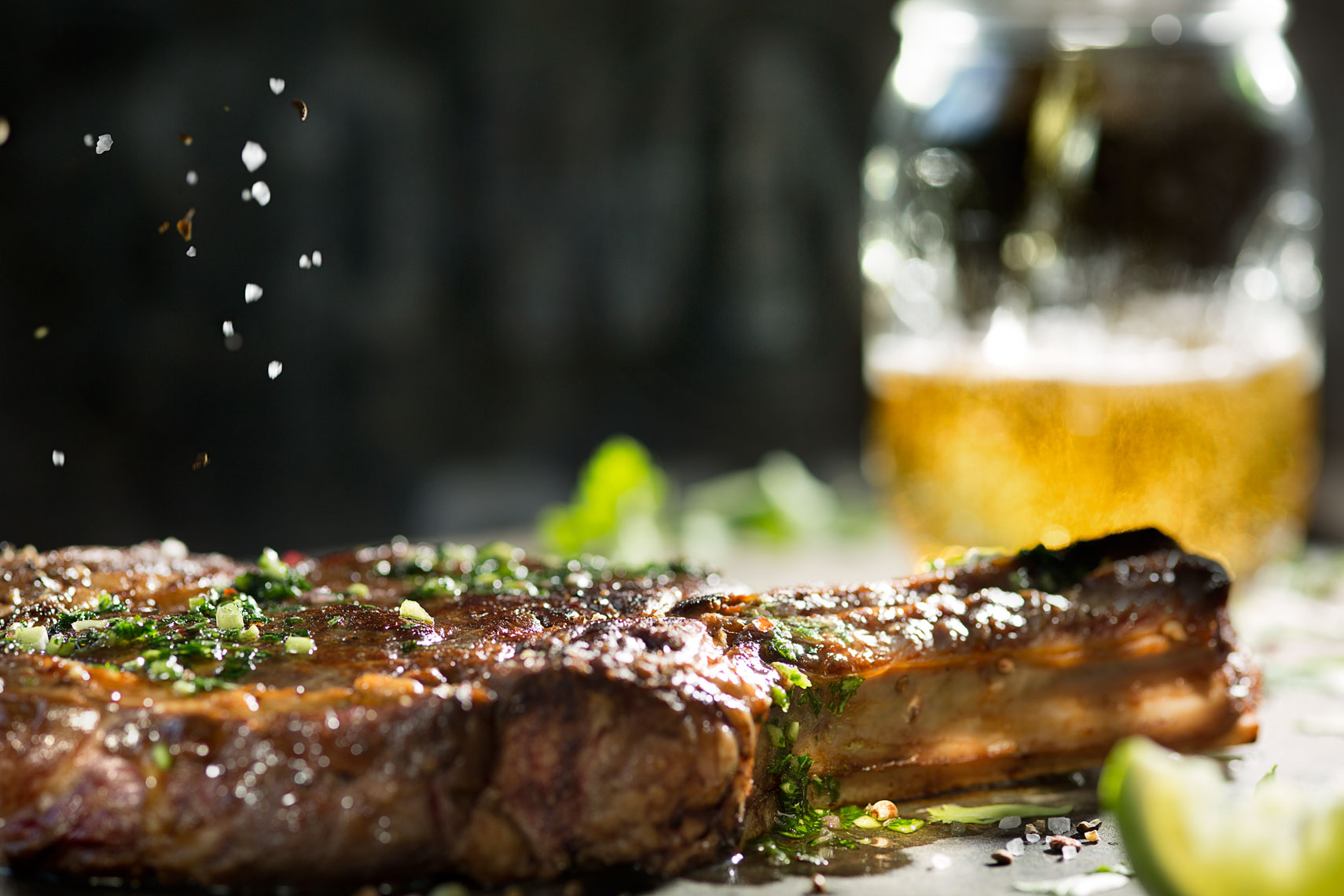 Steak and Beer Food Photography- © Aristo Studios