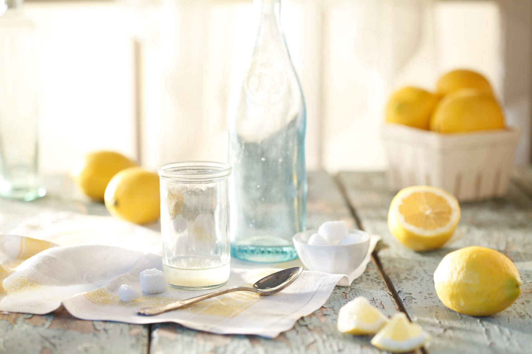 Lemons On Blue Surface