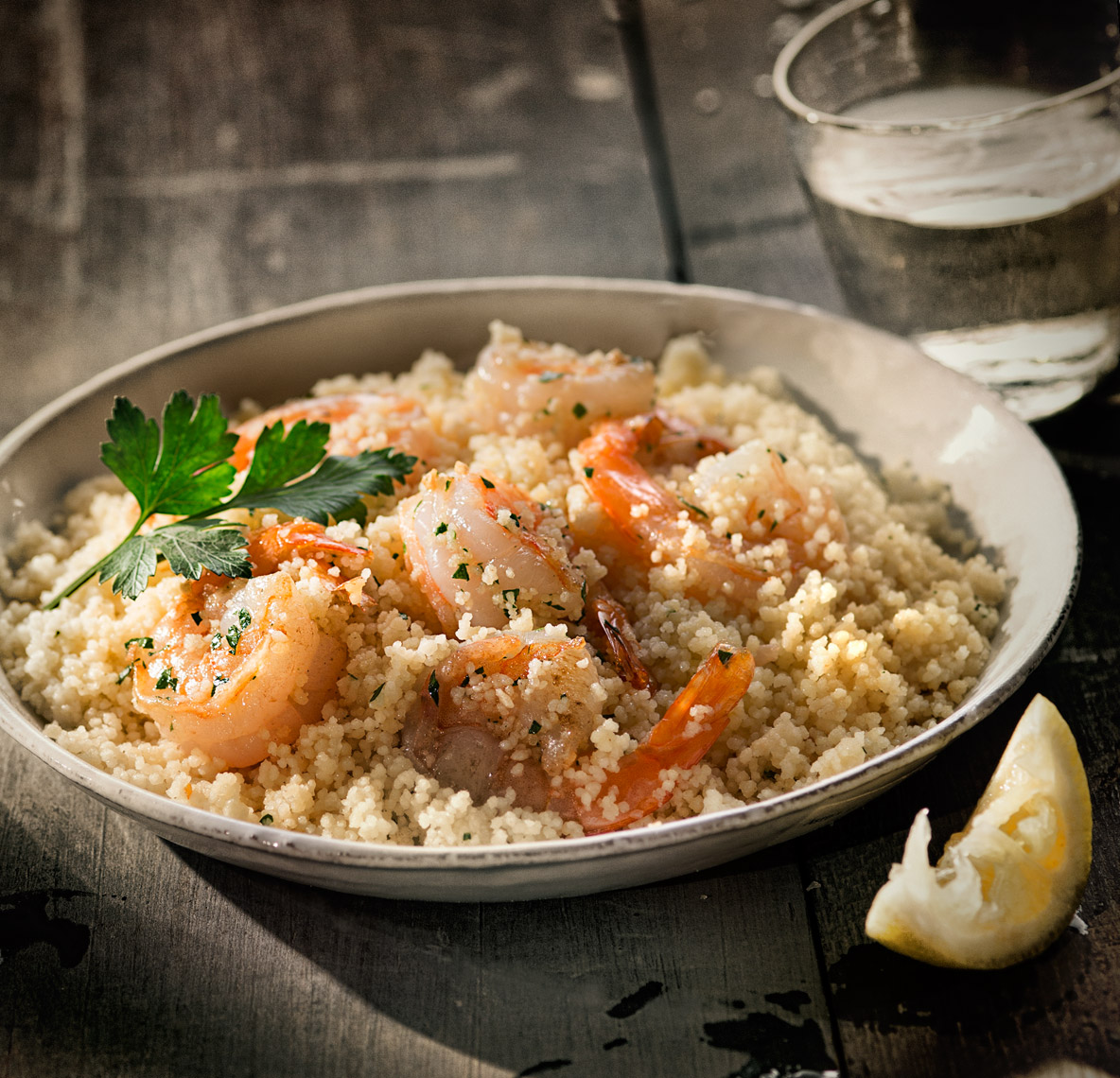 Shrimp Scampi On Wood Food Photography- © Aristo Studios
