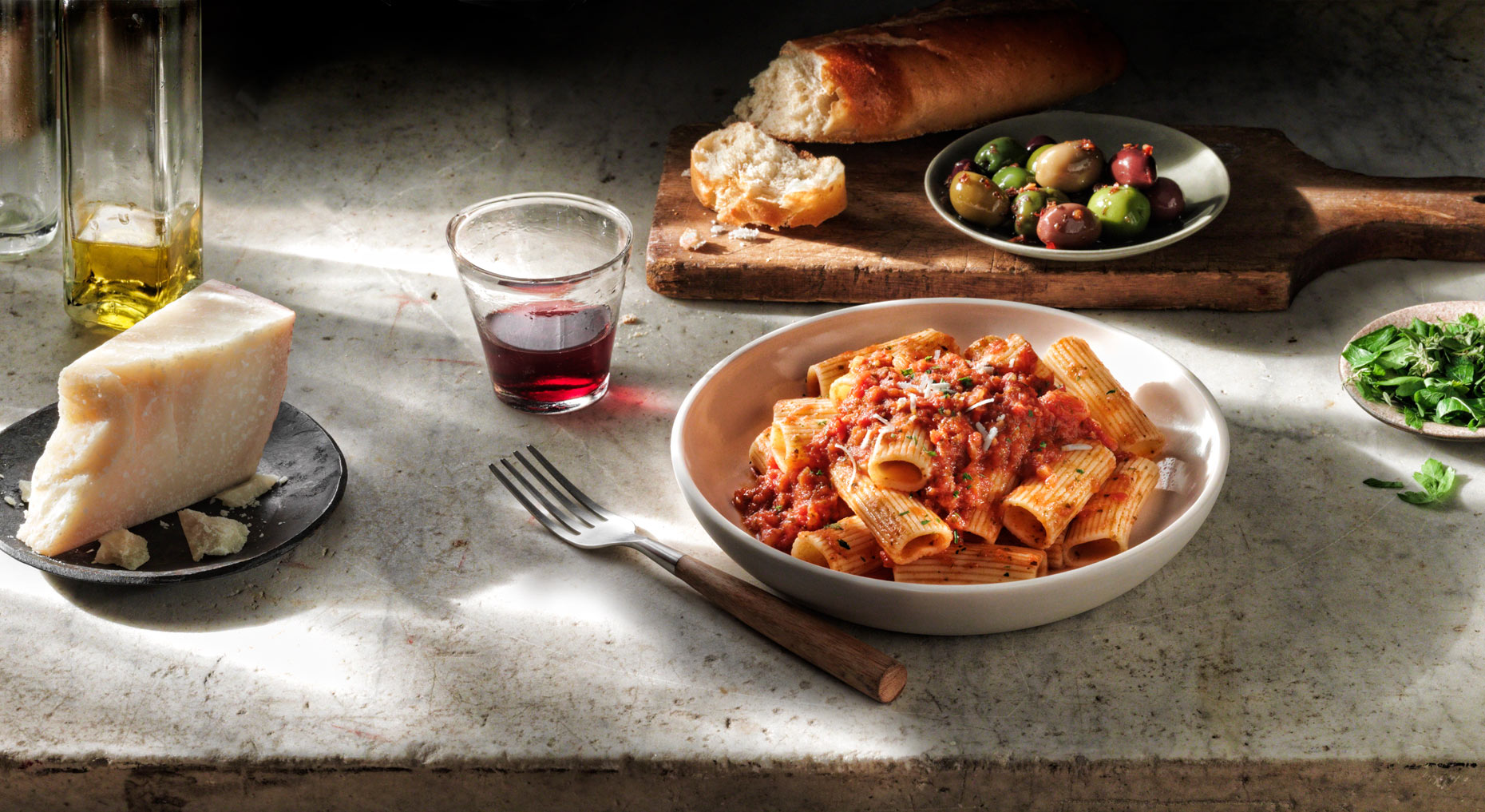 Rigatoni Cheese Wine Olives on Marble Food Photography- © Aristo Studios