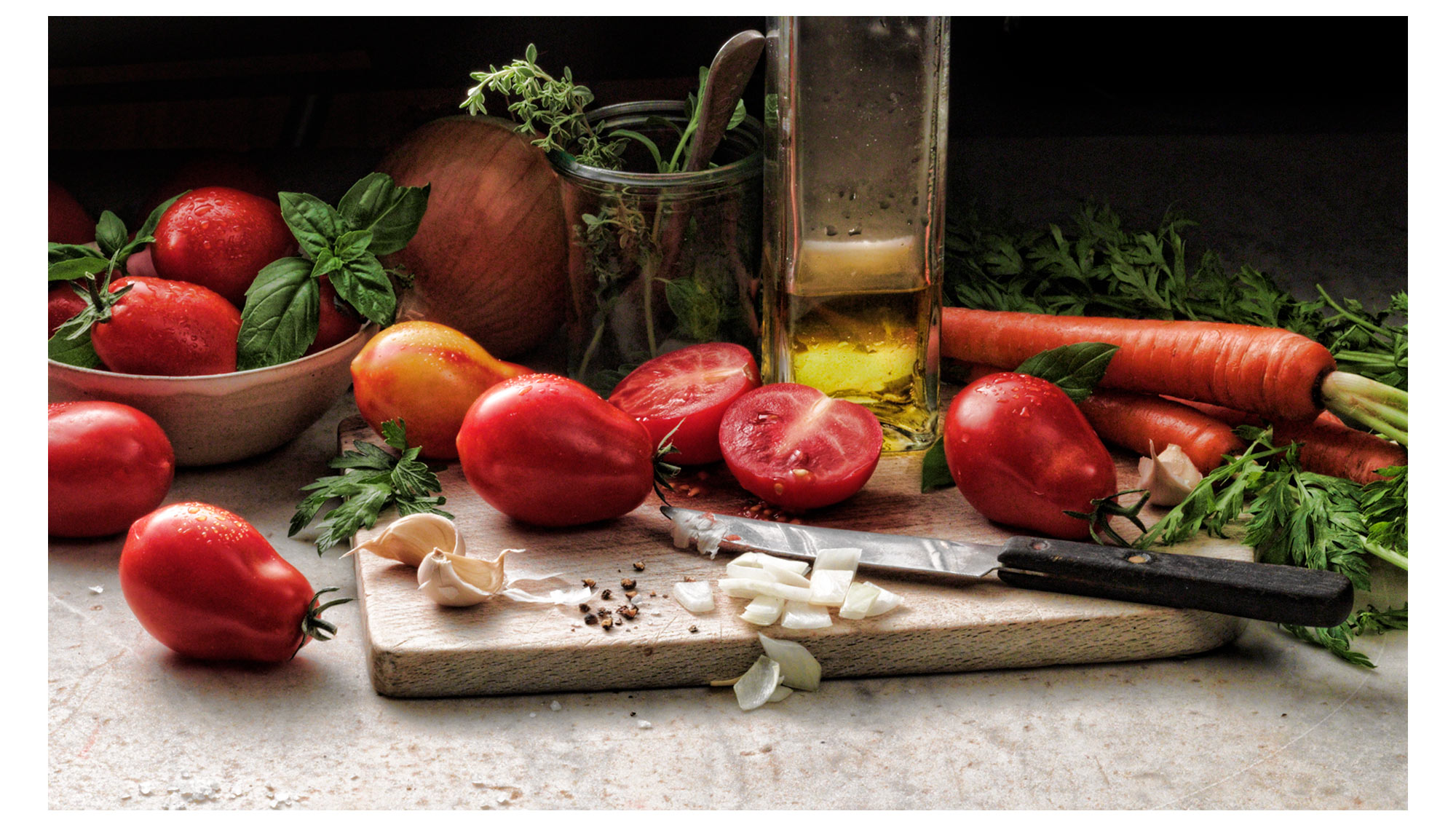 Vegetable Ingredients on Marble Food Photography- © Aristo Studios